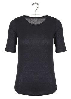 Tee-shirt en coton et cachemire Bleu by MAJESTIC