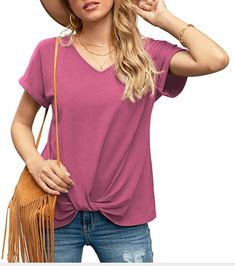 """You can pair the T-shirt Top with leggings, jeans, shorts, sneakers, boots and heels for a cute look! Great for Casual Daily Wear, Stay at Home, Lounging Around, Party, Work, Vacation, Night Out and Homecoming in Everyday. About Size: Our size is US size, please refer to the Size Chart before ordering. Model info: The model is 5'9'' tall, 33B bust, 35.4"""" hip, 114 lbs, wearing a Size S. Casual T Shirts, Casual Tops, Trendy Clothes For Women, T Shirts For Women, Basic Tees, How To Roll Sleeves, Short Tops, Top Knot, Cute Tops"""