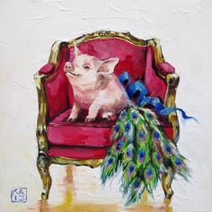 one proud pig, painting by artist Kimberly Applegate