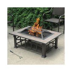 Outdoor Fire Pit Steel Wood Fireplace Heater Table Deck Furniture Grill Patio LP