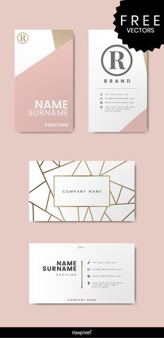 Modern pastel pink business card mockups and corporate identity design vectors Corporate Identity Design, Identity Card Design, Identity Branding, Business Card Design Inspiration, Business Design, Creative Inspiration, Professional Business Card Design, Design Corporativo, Design Cars