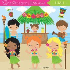 Luau clipart, Hula clipart, Beach clipart, Summer clip art, Tiki hut, surfer boy, hula girl, beach party, Commercial License Included