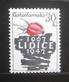 Commemorative postage stamp released on the 25th anniversary of Lidice destruction