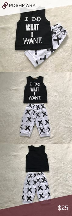 NWT Boutique baby outfit Re-posh! Thought this way a 2T but it runs WAY small - more like 12-18mos in my opinion. Super cute sassy little outfit for the strong willed child in your life 😉 Matching Sets