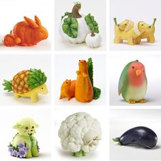 Fruit and Vegetable Animals. diy food presentation and carving ideas.