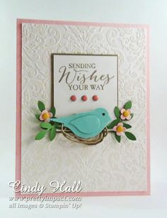 Bird Builder Punch card by Cindy Hall... love how she used natural twine just rolled under bird to appear as a nest!
