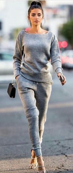 #fall #outfits women's grey boat-neck sweater and sweat pants - definitely different shoes.