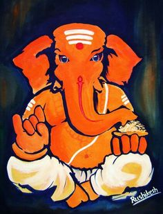 Ganapati More Más Ganesha Drawing, Lord Ganesha Paintings, Ganesha Art, Krishna Painting, Ganesha Tattoo, Ganesha Pictures, Indian Art Paintings, Abstract Paintings, Tanjore Painting