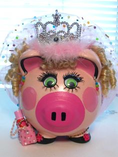 Princess Bayley Ceramic Piggy Bank by TriciaJewelryArmoire on Etsy, $35.00