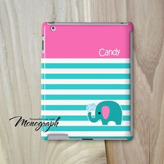 IPad Air Case Monogram iPad Mini Case Cute Elephant by monograph