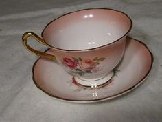 Royal Albert Bone China Cup and Saucer PINK and YELLOW ROSE PATTERN