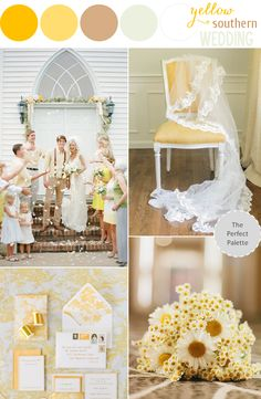 Sunny Southern Wedding: http://www.theperfectpalette.com/2014/05/sunny-southern-wedding-yellow-styling.html Yellow Wedding Styling Ideas