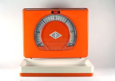 Orange and white JUSTA metal wall scale 70's, vintage retro kitchen scale by RetroRetek on Etsy