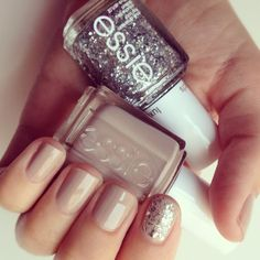 Essie Jazz with Essie Set in Stones over it ... like the subtle glitzy look! | mimi + meg