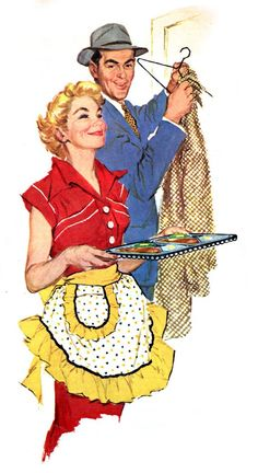 """Dinner is ready!""  Yes, meet him at the door with t.v. dinners.  Vintage clueless but happy housewife.  (Detail from a Swanson's ad.)"