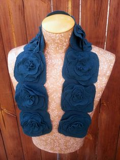 Felted Flower Scarf, Upcycled Wool, Dark Teal