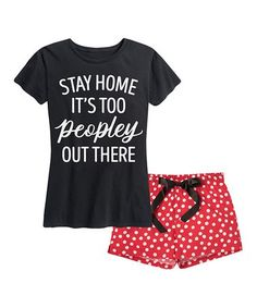 Another great find on #zulily! Black & Red Dot 'Stay Home' Pajama Set #zulilyfinds