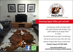 Good day All. Nguni Cow Hide Company sells Luxury Nguni Cow Hide rugs. We have a great selection for you to choose from and our service is to come out to your home for you to choose the best Nguni Hide for your space. Please call or whatsapp Craig on 729024440 and please also do visit our Facebook page at www.facebook.com/ngunicowhidecompany  #Nguni #NguniCowHides #NguniSkins #ZuluHides #AfricanGameskin #NguniCapeTown #CowSkins #CowSkinRugs #CowSkinCarpet Hide Rugs, Cow Hide Rug, Cow Skin Rug, Floor Rugs, Classic Style, Flooring, Facebook, Space, Luxury