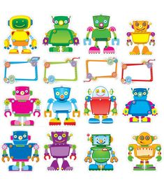 """Gear up your classroom with this robot bulletin board set. Set includes: 12 robots, largest approx. 8.5"""" x 9"""" 11 blank speech bubbles """"Reading Robots,"""" """"Geared Up for Good Work,"""" and """"Geared Up for Math"""" speech bubbles"""