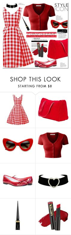 """""""Check Republic: Gingham Dress and PaoloShoes"""" by paoloshoes ❤ liked on Polyvore featuring LE3NO, Christian Louboutin and Chanel"""