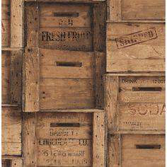 Wood Wallpaper, Wallpaper Samples, Print Wallpaper, Wallpaper Roll, Classic Wallpaper, Brown Wallpaper, Wooden Crates Design, Wood Crates, Wooden Crates Rustic
