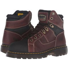 Dr. Martens Work Ironbridge Tec-Tuff Steel Toe 8-Tie Boot (Teak... ($145) ❤ liked on Polyvore featuring shoes, boots, ankle boots, lace-up platform boots, leather lace up boots, platform boots, steel toe cap boots and long boots