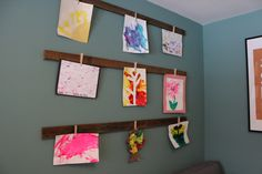 kids art holder - playroom art display- clothespins