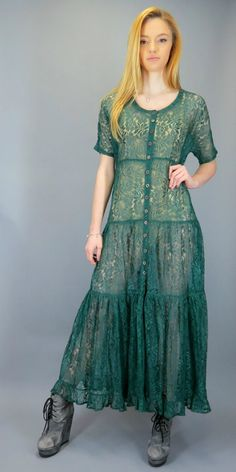 Vintage 90s Sheer Floral Lace Maxi Dress Dark Forest Green Tiered Button Front Boho Full Skirt Grunge 1990s Festival Gypsy Boho Hippie Bohemian by BlueFridayVintage on Etsy
