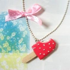 Ice-Cream Drop with Bow Necklace Pink - One Size