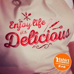 Enjoy life, it's delicious! North Face Logo, The North Face, Apron, Metallic, Logos, T Shirt, Life, Design, Supreme T Shirt