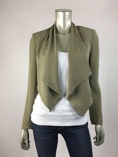 3b19ea5e07e H amp M Divided sz 4 Olive Green Draped Stretch Blazer Jacket Waterfall NEW  Womens