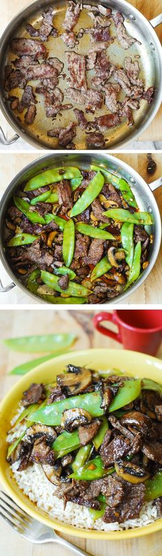 Asian Beef with Mushrooms & Snow Peas – delish and easy-to-make! Tender mushrooms, crisp snow peas, and thinly sliced sirloin steak strips sautéed in garlic. #Asian_food #Asian_recipe