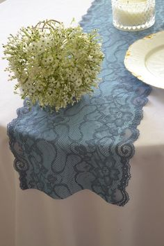 Steel Blue Lace Table Runner wide 3 length/Ends not Hemmed/two tone color/Very Low Stock/reception/shower/Free Swatch available Lace Runner, Lace Table Runners, Lace Tops, Blue Lace, Lace Shorts, Swatch, Wedding Decorations, Reception, Trending Outfits