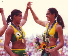 1996 Atlanta Olymypics - Brazil's Jackie Silva and Sandra Pires win the inaugural beach volleyball Olympic gold
