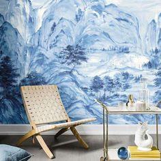 Chinoiserie Wallpaper, Wallpaper Murals, Chinese Landscape Painting, Landscape Paintings, Wall Paintings, Mountain Mural, Mountain Wallpaper, Tea Culture, Modern Wallpaper