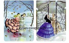 J46 PAIR swap playing cards PRETTY LITTLE GIRLS IN THE SNOW & ICE SKATING