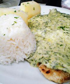 Linguado à Fiorentina. Peixe empanado e assado, com molho cremoso de espinafre e batatas coradas | Figos & Funghis