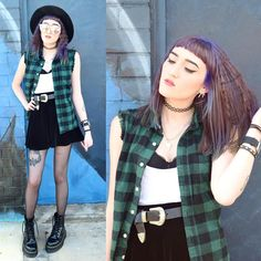 "Kaicee on Instagram: ""New post is up on my blog!  #me#ootd#purplehair#fedora#flannelshirt#westernbelt#tights#drmartens#jadonboots#platforms#tattoochoker#tattoos#ink#grunge#gothic#edgy#alternative#fashion#fashionblogger#nutkaic"""