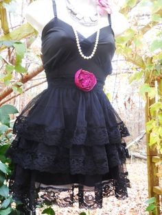 Reserved for Emma Black lace dress mini tulle by vintageopulence, $90.00