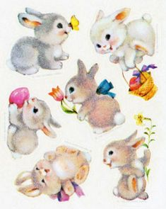 Vintage Fuzzy Bunnies Sticker Sheet by Hallmark Vintage Pictures, Vintage Images, Cute Pictures, Bunny Painting, Cute Animal Illustration, Rabbit Art, Vintage Greeting Cards, Vintage Easter, Illustrations