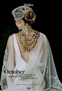 Enchanted Atelier for Maison Sophie Hallette {Marielle} cap featured in Brides Magazine.