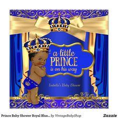 Prince Baby Shower Royal Blue Gold Drapes Ethnic Invitation