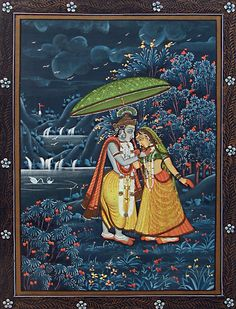 Radha Enamoured by Krishna's Charm on a Stormy Night - Miniature Painting from Rajasthan, India