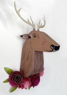 Ciervo de papel para decoracion de pared, decoracion hogar, decoracion infantil, modelos de papel, ciervo origami, trofeo ciervo de GraphicHomeDesign en Etsy https://www.etsy.com/es/listing/255080169/ciervo-de-papel-para-decoracion-de-pared