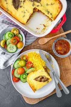 Zuid-Afrikaanse vegetarische bobotie - Francesca Kookt Quorn, Chutney, Tacos, Dinner Recipes, Cheese, Vegan, Ethnic Recipes, Food, Africa