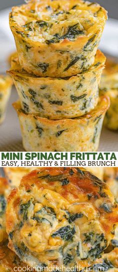 Spinach frittata is a delicious and easy brunch recipe with Parmesan cheese th. Spinach frittata is a delicious and easy brunch recipe with Parmesan cheese that's filling, healthy and perfect for on the go meals too in under 30 minutes. Easy Brunch Recipes, Healthy Brunch, Breakfast Recipes, Vegetarian Brunch Recipes, Healthy Recipes With Spinach, Recipes Dinner, Healthy Delicious Recipes, Vegetarian Appetizers, Healthy Menu