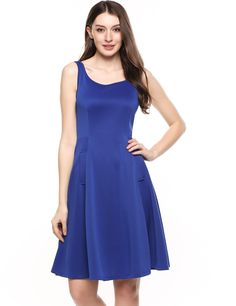 Blue Square Collar Sleeveless Solid Elastic A-Line Tank Casual Dress