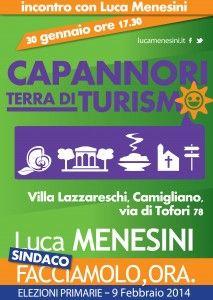 """Giovedì 30 gennaio ore 17.30 a Villa Lazzareschi a Camigliano in via di Tofori 78 si terrà l'incontro con Luca Menesini sul tema """"Capannori terra di turismo"""""""