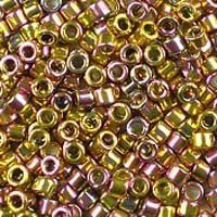 Miyuki 11/0 (1.6mm) Delica 24kt Gold-Plated Pink Iris glass cylinder beads, colour number DB 507.  A beautiful luxury bead, plated with real 24k gold, which reflects shades of gold and pink due to the rainbow finish, with the pink tones predominating. UK seller.