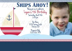 Nautical Sailboat Birthday Party by BetweenUandMeDesigns on Etsy, $12.00